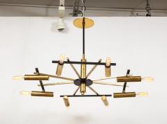 Stilnovo Vintage Mid Century Black and Brass Stilnovo Ceiling Light - 2057770