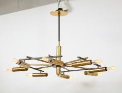 Stilnovo Vintage Mid Century Black and Brass Stilnovo Ceiling Light - 2057771