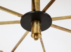 Stilnovo Vintage Mid Century Black and Brass Stilnovo Ceiling Light - 2057772