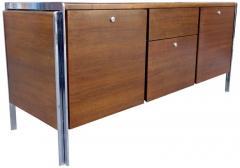 Stow Davis Furniture Co Midcentury Walnut And Chrome Credenza By Stow Davis    555728