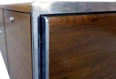 Stow Davis Furniture Co Midcentury Walnut And Chrome Credenza By Stow Davis    555729