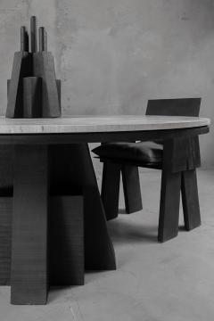 Studio Arno Declercq AD Round Table Iroko and Stone Signed Table Arno Declercq - 1068938