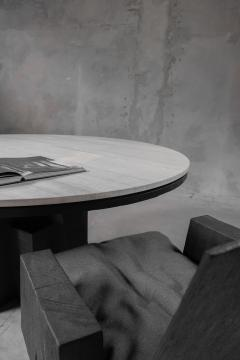 Studio Arno Declercq AD Round Table Iroko and Stone Signed Table Arno Declercq - 1068941