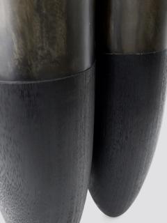 Studio Arno Declercq Arno Declercq Black Iroko Wood and Patinated Brass Top Senufo Side Table Stool - 1117131