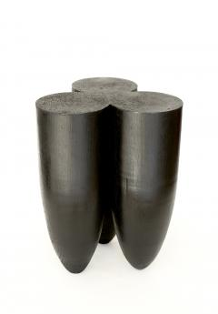 Studio Arno Declercq Arno Declercq Senufo Black Iroko Wood and Burned Steel Stool Extra Large Size - 1767936