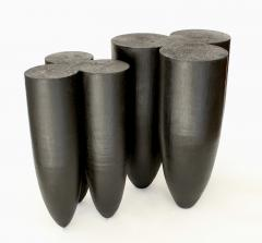 Studio Arno Declercq Arno Declercq Senufo Black Iroko Wood and Burned Steel Stool Extra Large Size - 1767942