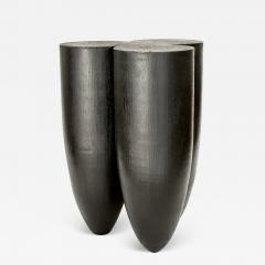 Studio Arno Declercq Arno Declercq Senufo Black Iroko Wood and Burned Steel Stool Extra Large Size - 1768665