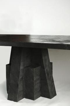 Studio Arno Declercq Iroko Wood Burned Steel Unique Signed Table Arno Declercq - 1068913