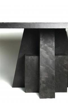 Studio Arno Declercq Iroko Wood Burned Steel Unique Signed Table Arno Declercq - 1068914