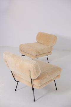 Studio BBPR BBPR Pair of armchairs Elettra for Arflex in Italian sheep hair - 1984779