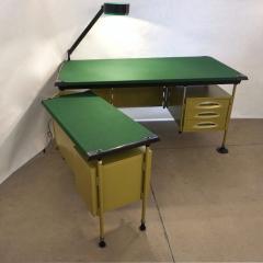 Studio BBPR BBPR for Olivetti 1960 Green Modernist Desk with Black Accents and Side Bureau - 1446062