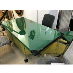 Studio BBPR BBPR for Olivetti 1960 Green Modernist Desk with Black Accents and Side Bureau - 1446064