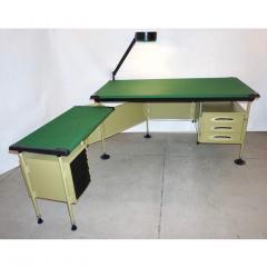Studio BBPR BBPR for Olivetti 1960 Green Modernist Desk with Black Accents and Side Bureau - 1446065