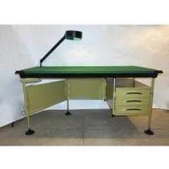 Studio BBPR BBPR for Olivetti 1960 Green Modernist Desk with Black Accents and Side Bureau - 1447929