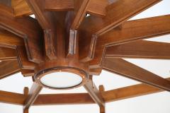 Studio BBPR Big Chandelier MidCentury Italian attributed to Studio BBPR in wood 1950s - 980221