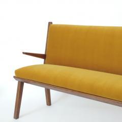 Studio BBPR Italian 1940s Bench in Wood and Yellow Velvet Upholstery Att to Studio BBPR - 1528859