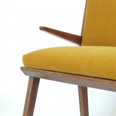 Studio BBPR Italian 1940s Bench in Wood and Yellow Velvet Upholstery Att to Studio BBPR - 1528862