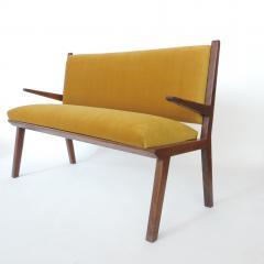 Studio BBPR Italian 1940s Bench in Wood and Yellow Velvet Upholstery Att to Studio BBPR - 1528863
