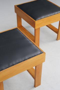 Studio BBPR Pair of MidCentury stools by BBPR Studio in Pear wood vinyl 1930s - 1191757