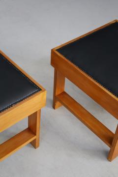 Studio BBPR Pair of MidCentury stools by BBPR Studio in Pear wood vinyl 1930s - 1191758