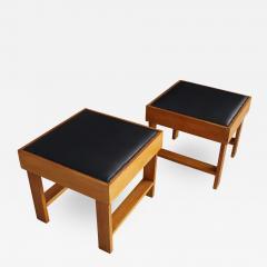 Studio BBPR Pair of MidCentury stools by BBPR Studio in Pear wood vinyl 1930s - 1192244