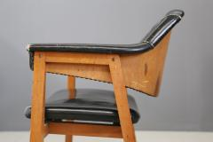 Studio BBPR Set of Four Chair Attributed to BBPR in Wood and Black Leather 1950s - 1468038