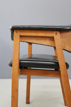 Studio BBPR Set of Four Chair Attributed to BBPR in Wood and Black Leather 1950s - 1468041