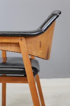 Studio BBPR Set of Four Chair Attributed to BBPR in Wood and Black Leather 1950s - 1468042