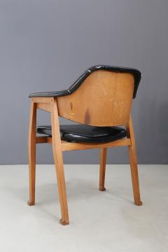 Studio BBPR Set of Four Chair Attributed to BBPR in Wood and Black Leather 1950s - 1468043
