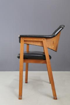 Studio BBPR Set of Four Chair Attributed to BBPR in Wood and Black Leather 1950s - 1468044