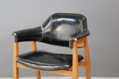 Studio BBPR Set of Four Chair Attributed to BBPR in Wood and Black Leather 1950s - 1468045