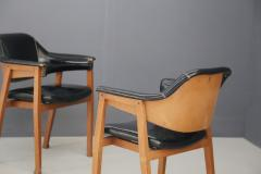 Studio BBPR Set of Four Chair Attributed to BBPR in Wood and Black Leather 1950s - 1468047