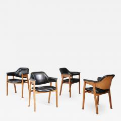 Studio BBPR Set of Four Chair Attributed to BBPR in Wood and Black Leather 1950s - 1470743