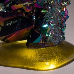Studio Greytak Studio Greytak Titanium Quartz on Cast Glass Iridescent Quartz Yellow Glass - 1459503