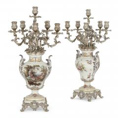 T tard Fr res Three piece silver mounted porcelain garniture by T tard Fr res - 1287332