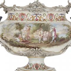 T tard Fr res Three piece silver mounted porcelain garniture by T tard Fr res - 1287335