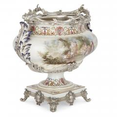 T tard Fr res Three piece silver mounted porcelain garniture by T tard Fr res - 1287337
