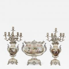 T tard Fr res Three piece silver mounted porcelain garniture by T tard Fr res - 1289848