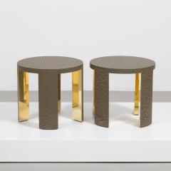 Talisman Bespoke The Circular Crackle Side Tables by Talisman Bespoke Bronze and Gold  - 354735