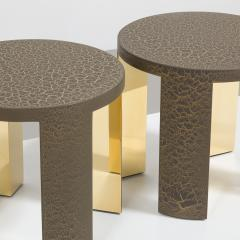 Talisman Bespoke The Circular Crackle Side Tables by Talisman Bespoke Bronze and Gold  - 354736