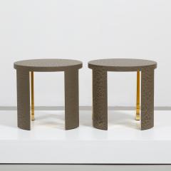 Talisman Bespoke The Circular Crackle Side Tables by Talisman Bespoke Bronze and Gold  - 354737