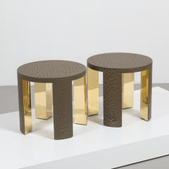 Talisman Bespoke The Circular Crackle Side Tables by Talisman Bespoke Bronze and Gold  - 354738