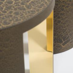 Talisman Bespoke The Circular Crackle Side Tables by Talisman Bespoke Bronze and Gold  - 354740