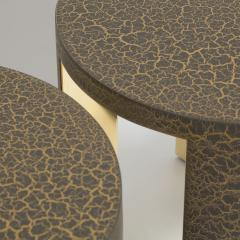 Talisman Bespoke The Circular Crackle Side Tables by Talisman Bespoke Bronze and Gold  - 354741