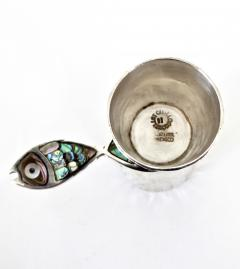 Taxco Los Castillos Taxco Mexico Sterling Silver Liquor Jigger With Abalone Handle - 792876