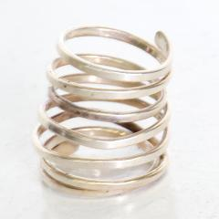 Taxco Taxco Sterling Silver Coiled Spiral Wrap Ring 1970s Mexican Modernism - 1983568