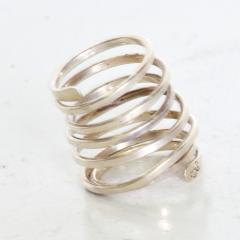 Taxco Taxco Sterling Silver Coiled Spiral Wrap Ring 1970s Mexican Modernism - 1983571