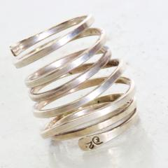 Taxco Taxco Sterling Silver Coiled Spiral Wrap Ring 1970s Mexican Modernism - 1983572