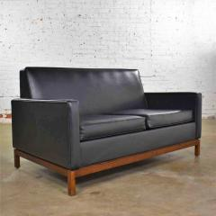 Taylor Chair Co Mid century modern black faux leather love seat sofa by taylor chair co  - 1609385