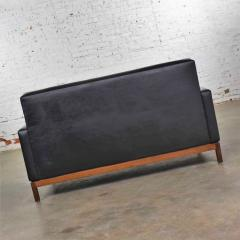 Taylor Chair Co Mid century modern black faux leather love seat sofa by taylor chair co  - 1609386